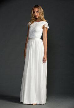 Stunning boat neck French lace wedding dress by Graceloveslace