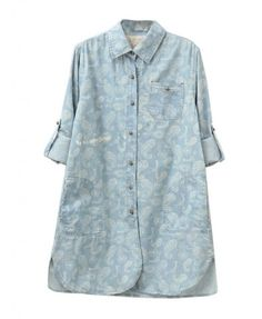Long Floral Print Denim Blouse with Point Collar - Blouses - Clothing