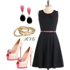 Little Black Dress with a Pop of Pink