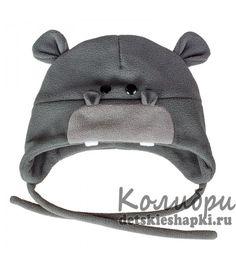 """Детская шапка """"Бегемотик"""" для мальчиков из двойного флиса на зиму"""