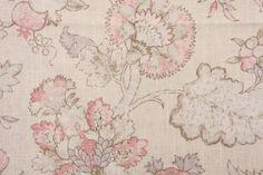 Braemore Jacobean Printed Linen Blend Drapery Fabric in Blush $11.95 per yard