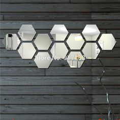 Hot model simple Hexagon 100*120mm 12PCS/set DIY acrylic mirror wall stickers home decoration crystal wall paper Free shipping-in Mirrors from Home & Garden on Aliexpress.com | Alibaba Group