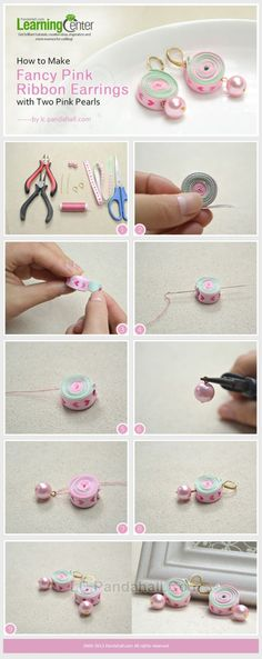 How to Make Fancy Pink Ribbon Earrings with ... | Jewelry Making Tuto�� by wanting