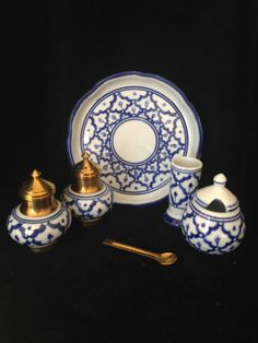Porcelain Blue and White salt and pepper  by CoCoBlueTreasures,