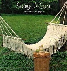 Pattern for Macrame Hammock, sling chair, footstool, and swing.
