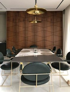The wooden wall panels featured in decoration of the dining room