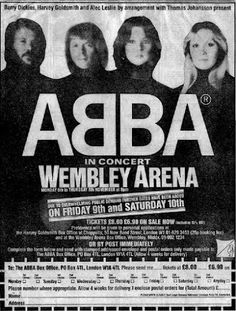 Here is a poster promoting Abba's 1979 concerts at Wembley Arena in London...  #Abba #Agnetha #Frida http://abbafansblog.blogspot.co.uk/2016/11/wembley-arena-poster.html
