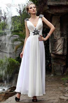 床まで届くの長さ 袖がない すてきな 既製品ドレス (1714876)