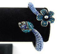 Antique-Inspired Blue Sapphire Zircon Rhinestone Flower Bud Stem Bracelet Bangle Alilang. $16.99