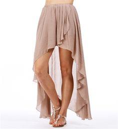 Mocha Hi Low Hem Wrap Skirt