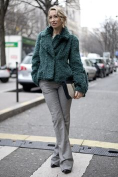 Street Style at Paris Fashion Week Fall 2013   We love the way the soft-green hues played off this attendee's flared gray trousers.