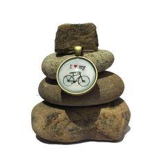 I Love my Bicycle Bike Rock Cairn Wheels by CedarwoodCreations
