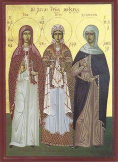 Orthodox icon of the Holy Mothers Nonna, Emilia and Anthousa. Saint Nonna, mother of Saint Gregory the Theologian, Saint Emilia mothe Religious Images, Religious Icons, Early Christian, Christian Art, Saint Gregory, Fortune Cards, Lives Of The Saints, Byzantine Icons, Russian Orthodox