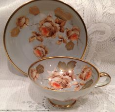 Vintage Hand Painted Bone China Demitasse cup and saucer