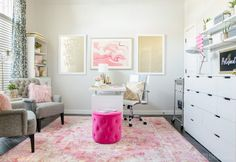 A glam pink, white & gold office makeover from Polished Habitat!