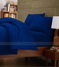 "1200 Tc Egy. Cotton 16""Pkt 3 Pc. Bright Royal Blue Queen Bedding Set / Bed Sheet"