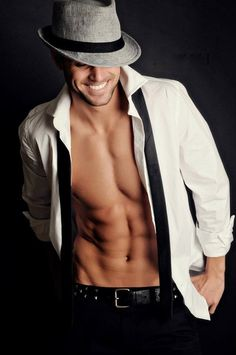 Dudeoir - Dudoir - Male Boudoir - Photography - Hat - Killer Smile - Portrait - Editorial - Pose Idea