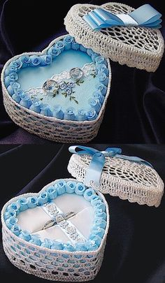 ateliersarah's ring pillow/heart-shaped lace basket decorated with light blue floret