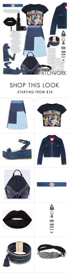 """""""ALL PATCHED UP: patchwork #patchwork #denim #look #blue #blacklipstick #diesel"""" by bella9627 ❤ liked on Polyvore featuring M.i.h Jeans, Chanel, Gucci, Diesel, Kenneth Jay Lane, Nasty Gal, Design Lab and Barry M"""