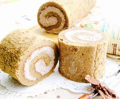 white coffee swiss roll (with nut filling: no whipped cream!)