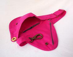 Riñonera rosa caliente de algodón correa del bolso bolsa de