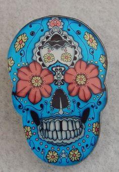 Sugar Skull Day of The Dead Blue Brooch or Scarf Pin Handmade Jewelry Acrylic #handmade