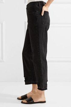 J Brand - Ivy Cropped Distressed High-rise Straight-leg Jeans - Black