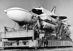 The Buran space shuttle on its way to the launch pad