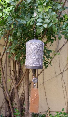 Ceramic garden bell by Jennifer C. Ways Of Seeing, Wind Chimes, Sconces, Wall Lights, Ceramics, Learning, Create, Garden, Outdoor Decor