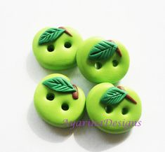 Green Apple - polymer clay buttons