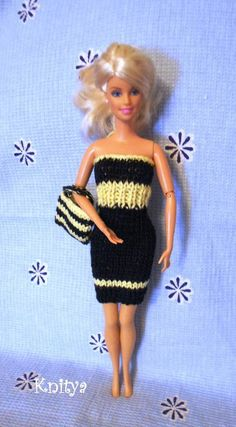 (6) Name: 'Knitting : Black&Yellow dress with purse for Barbie