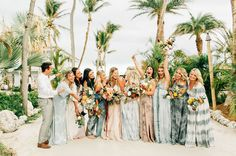 Beach bridesmaids in soft peach colored dressed on the beach in Punta Cana, Mexico - photo by Asia Pimentel Photography Beach Wedding Reception, Beach Wedding Photos, Beach Wedding Decorations, Barbados Wedding, Wedding Pictures, Florida Keys Wedding, Beach Wedding Colors, Punta Cana Wedding, Wedding Dinner