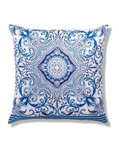 Large Morrocan Tile Print Cushion coussin inspiration azulejos bleu