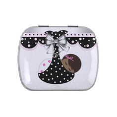 Sweet Pink and Black Baby Shower Candy Jelly Belly Tin    #baby #babyshower #shower #cute #custom #candytins #tins