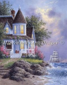 Seaside Victorian - Painting by Dennis Lewan.  Chart design by Michele Sayetta for Heaven and Earth Designs.