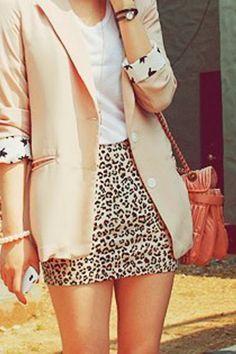 Leopard Skirt With Pale Blazer