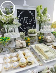 Beautiful white first communion party! See more party planning ideas at… Communion Centerpieces, Communion Decorations, Shower Centerpieces, Centerpiece Ideas, Baptism Party, Boy Baptism, Christening, Baptism Ideas, Candy Table