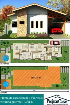 Projeto de casa térrea, ideal para construção em lotes acima de (10X30)m.
