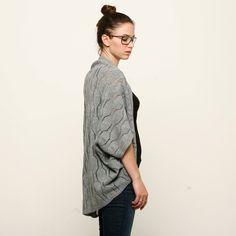 Women grey knitted cardigan one size fits all. $60.00, via Etsy.