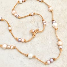 Long Suede Pearl Necklace, Double Strand Casual Pearl Necklace, Boho Wrap Necklace