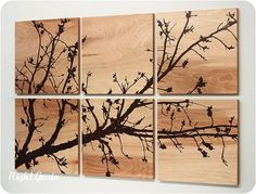 Pretty Branches in Bloom Original Wall Art on Wood Grain Panels by lupe