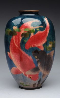"""Has wonderful designed of Koi fish in beautiful colors. Stamped on bottom. Copper rim and base. Vase is exceptional quality. No cracks, hairlines, enamel loss and restorations. Condition (Near Mint). Size 10"""" T."""