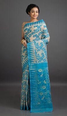 Trisha Bels and Cones Translucent Fine Jamdani Cotton Saree
