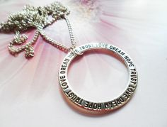 Hope, Love, Trust, Dream motto necklace, boho jewelry, Selma Dreams bohemian accessories, life inspired gifts for her by SelmaDreams on Etsy