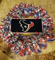 NFL Houston Texans Wreath - Deco Mesh by ChellesUniqueDesigns on Etsy
