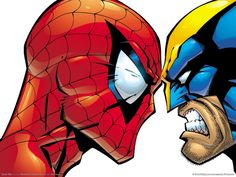 Wolverine and Spiderman.do you think my might like to be Wolverine instead of Spidey ? Hulk Marvel, Superman Vs Hulk, Marvel Heroes, Superman Lois, Avengers, Batman, Comic Book Heroes, Comic Books Art, Comic Art