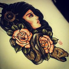 Awesome tattoo design. Sailor theme girl with roses, eel and ship steering wheel. #tattoo #tattoos #ink #inked