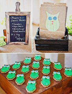 Like some of the decor ideas for hints of owls at the shower.