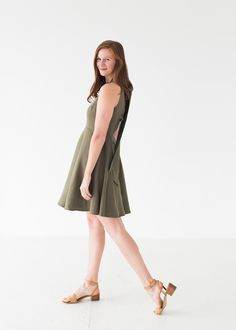 Emily Dress in Olive - 12 / Gathered