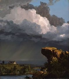 """A Passing Storm: Frederic Edwin Church    One of my favourite painters;  Born (May 4, 1826 – April 7, 1900) was an American landscape painter born in Hartford, Connecticut. He was a central figure in the Hudson River School of American landscape painters. While committed to the natural sciences, he was """"always concerned with including a spiritual dimension in his works""""."""
